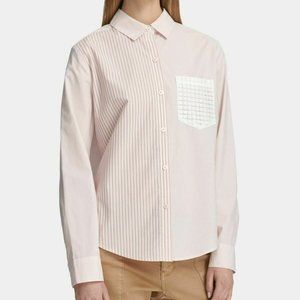 DKNY Womens New 1132 Pink Striped Collared  TOP